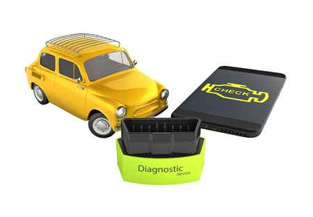 Car diagnostic concept Close up of OBD2 wireless scanner with smartphone and retro car on white background 3d illustration without shadow Фото со стока