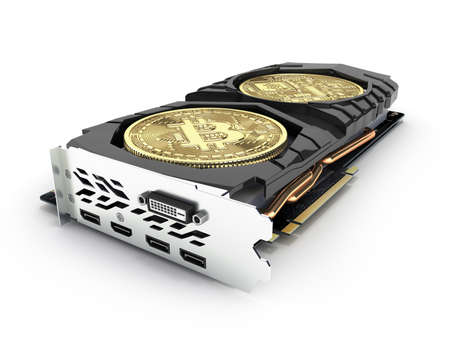 Bitcoin mining Powerful video card to mine and earn cryptocurrencies concept isolated on white background 3D render 版權商用圖片