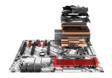Motherboard complete with processor and cooling system in disassembled form isolated on white background 3d render Фото со стока