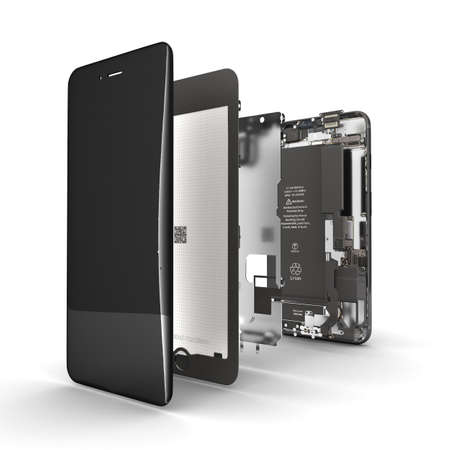 Smartphone in the open state Illustration of smartphone components isolated on white background 3d render Фото со стока
