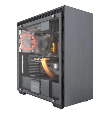 Computer closed transparent cover with red lighting effects and water cooled cooling system on white background 3d render without shadow