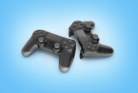 Two black gamepads isolated on blue gradient background 3d rendering