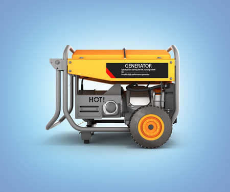 Portable gasoline generator isolated on a blue gradient background 3d render Фото со стока
