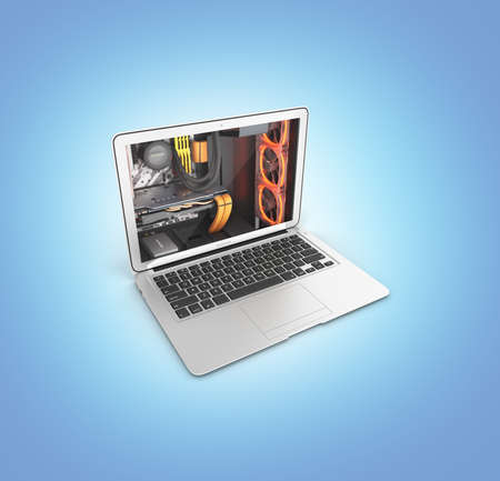 Powerful notebook concept laptop with powerful computer components isolated on blue gradient background 3d illustration