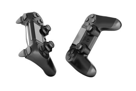 Black gamepad isolated on white background 3d rendering without shadow Фото со стока
