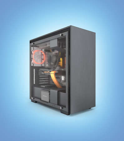 Computer closed transparent cover with red lighting effects and water cooled cooling system on blue gradient background 3d render