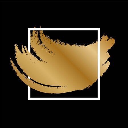 Gold square frame with golden glitter and pastel gold colors brush strokes isolated on black background. Иллюстрация