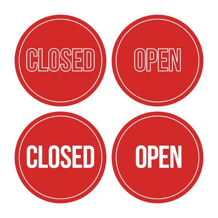We Are Closed Sign - Closed retail store red vector illustration symbol