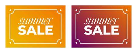 Summer Sale collection. Vector summer background with bokeh. Text design. Ilustração
