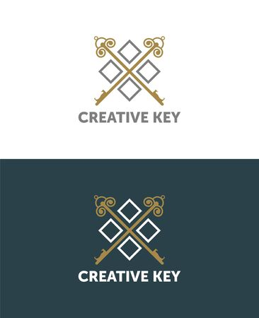 Vector graphic key shaped illustration with sample text for your company