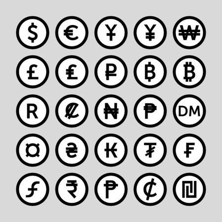 Currency sign vector icons set. Money currency icons. Vektoros illusztráció