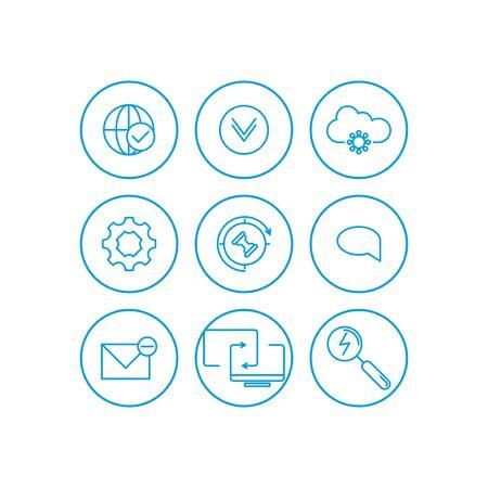Set of internet services icons - vector icons.. Illusztráció