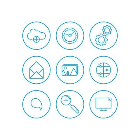 Set of internet services icons - vector icons Illusztráció
