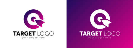Target hit two circle with arrow Branding Identity Corporate vector logo design template.