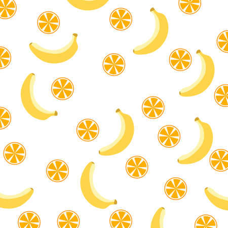 Seamless Patterns with Fruits Background with bananas, oranges and lemons. Ideal for printing onto fabric and paper or scrap booking.