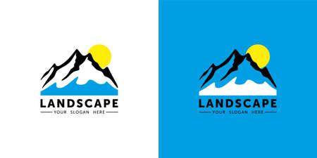 Mountains Logo Template. Nature and Forest Vector Design. Landscape Illustration