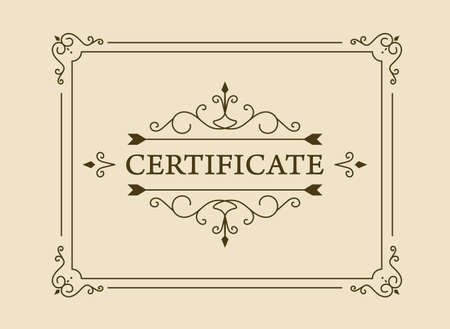 vintage certificate. certificate or coupon template with detailed border. Vettoriali