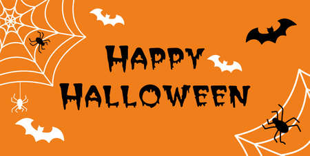 Happy Halloween hand drawn doodle lettering label art banner poster template
