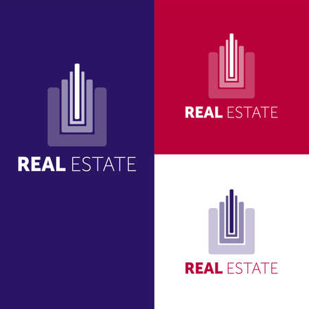 House Abstract Real Estate Countryside Design Template for Company. Building Vector Silhouette.