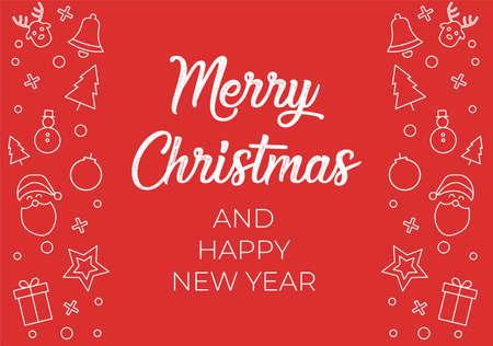 Christmas Decorative Border made of Festive Elements with Calligraphic Seasons Wishes Illustration