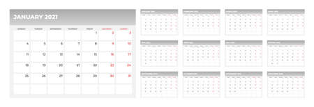 Wall calendar for 2021 year in clean minimal style. Corporate design planner template. Week Starts on Sunday. Set of 12 Months. Ready for print. Ilustração