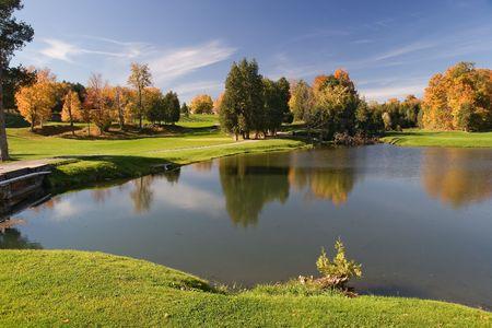 animal practice: campo de golf de vista 09.  Foto de archivo