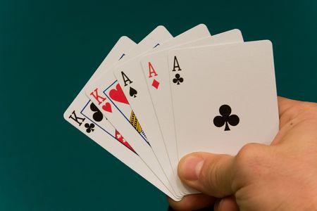 notions: 06 tarjetas con mano de p�quer completa casa. Foto de archivo