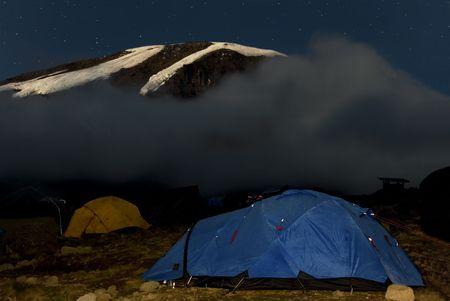 kilimanjaro: kilimanjaro 019 karango camp tent night view