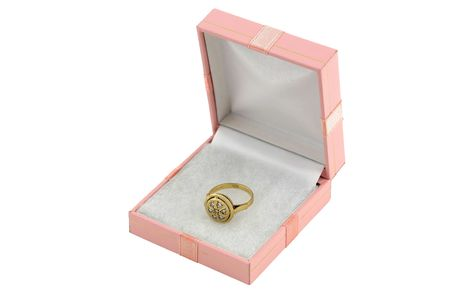 jewelery 004 gold ring with diamond in box. Stock Photo - 352858