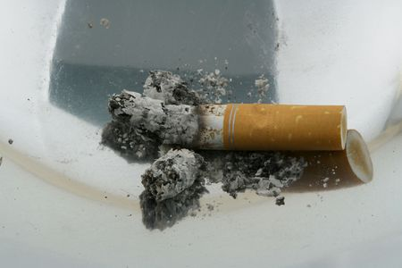 inhaled: smoke 06 ashtray. Stock Photo