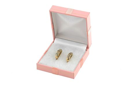 jewelery 008 gold earing with diamond in box. photo