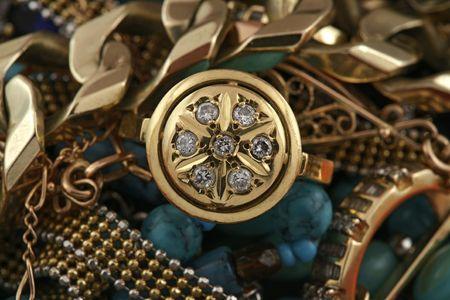 jewelery 007 gold ring with diamond jewelery background.