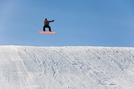 ski 020 snowboad jumping Stock Photo