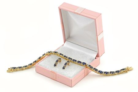 jewelery 014 gold necklace and earings in box isolsted Stock Photo