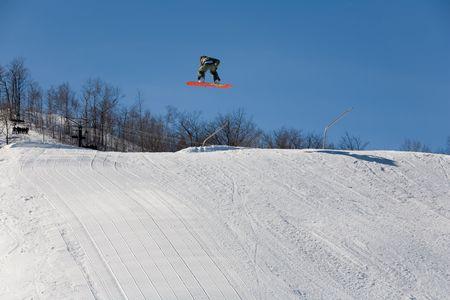 ski 018 snowboad jumping Stock Photo