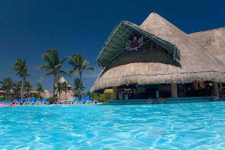 mexico resort pool and bar