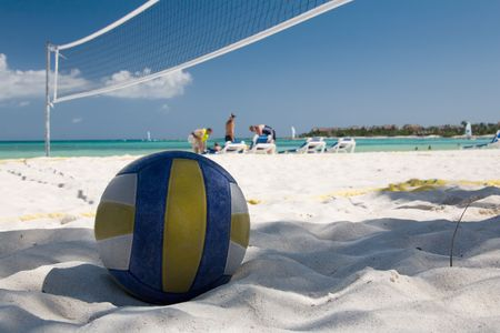 volleyball team: mexico on beach ball and the net Stock Photo