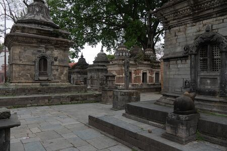 Votive temples and shrines in a row at Pashupatinath Temple