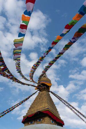 Nepal, Kathmandu. Boudhanath stupa with prayer flags Imagens