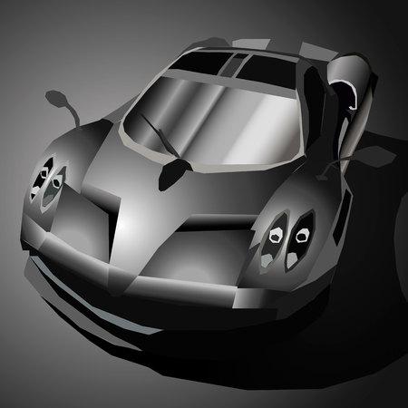 alloy: Vector illustration of black sports car in the dark.