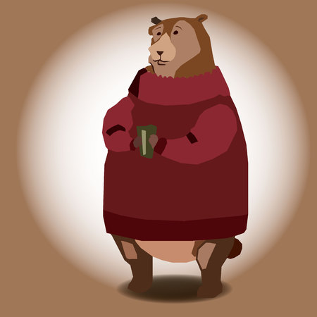 Vector illustration of bear in red  sweater with cup.
