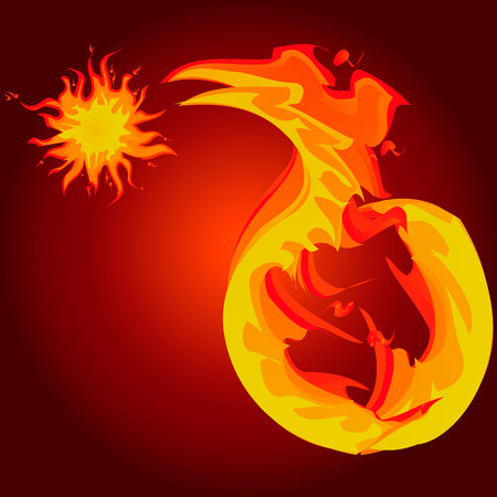 Vector illustration of fire snake with sun.