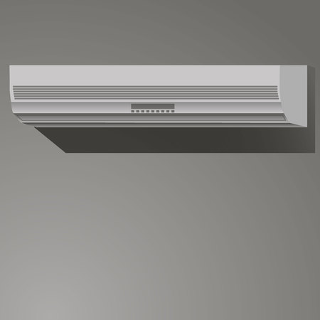 Vector illustration of gray conditioner on the wall.
