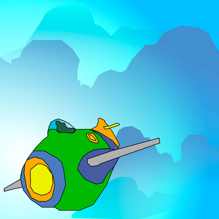 Vector illustration cartoon airplane in the sky. Illustration