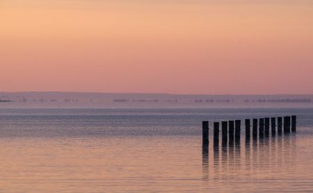 garish: Summer sunset on the lake Balaton, Hungary Stock Photo
