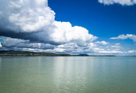 balaton: Clouds above the Balaton lake