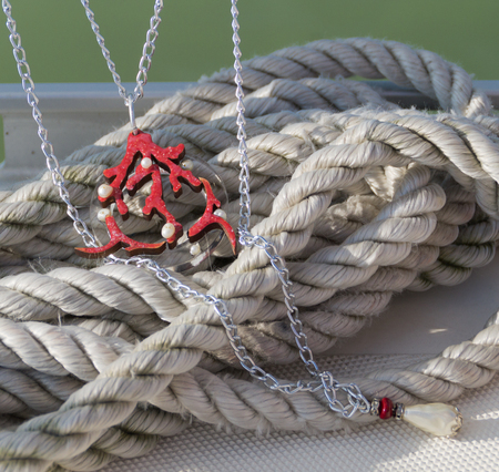 Hand made necklace on the Balaton lake background Stock Photo