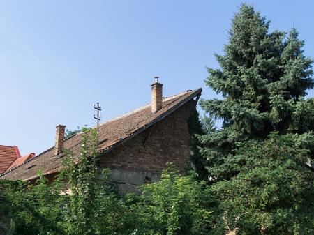 gutted: Old house with roof tiles in Keszthely, Hungary.