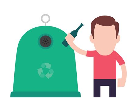 Vector recycling sign icon. Man throws a garbage in the trash. Illustration