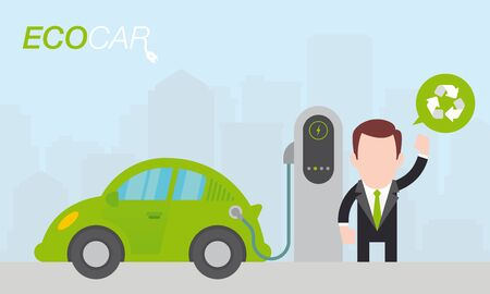 Vector man charging a green electric car in city. Simple cartoon graphic.  イラスト・ベクター素材